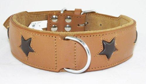 4doggies Hundehalsband, Leder, mit 4 braunen Sternen, 40 - 48 cm Halsumfang, Hellbraun
