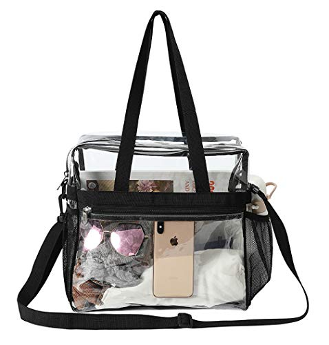 LEWEREI Clear Bag, Clear Tote Bag Stadium Approved, Waterproof and Lightweight, Stadium Security Travel & Gym Clear Bag for Work, Sports Games, Concerts and Women Men 12 x 12 x 6