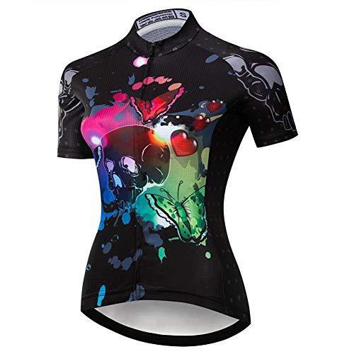Maglia da Ciclismo per Donna, Maglia Ciclo Manica Mezza compressa Elastica Top MTB ad asciugatura rapida Maglie da Bici traspiranti estive