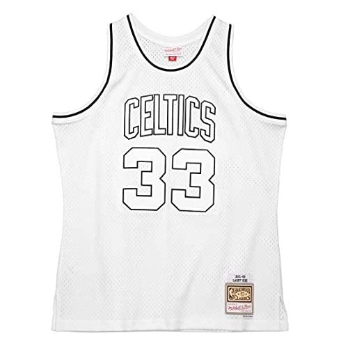 Mitchell & Ness NBA - Jersey Swingman de Boston Celtics Larry Bird #33, color blanco y negro, Blanco, L