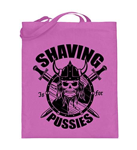 Shaving is for Pussies   Barba corporal vikinga Alemania Rocker Biker Thor - Bolsa de yute (con asas largas), color, talla 38cm-42cm