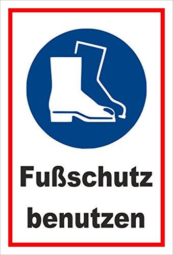 Aufkleber - Gebots-zeichen - Fuss-schutz benutzen - entspr. DIN ISO 7010 / ASR A1.3 – 30x20cm – S00361-016-B +++ in 20 Varianten