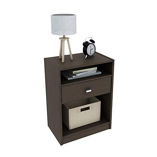 Madrid Nightstand. Bedroom Bedside Table, One Drawer with Silver Handle, Two Shelves, Home Furniture, Modern and Contemporary, Living Room End Table. (Espresso)