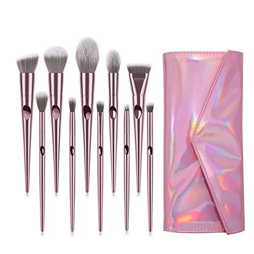 HBBOOI Brosses Maquillage 10 pièces haut de gamme synthétique Professional Cosmetics Kabuki Maquillage Pinceaux cadeau avec le maquillage Voyage Organisateur sac de transport (Color : Rose)
