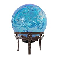 Alpine Corporation HGY112A-BL Glass Globe Décor w/LED Light, 13 Inch Tall, Blue