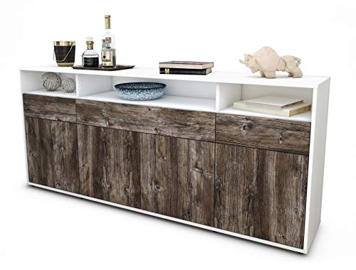 Stil.Zeit Sideboard Ezia/Korpus Weiss matt/Front Holz-Design Treibholz (180x79x35cm) Push-to-Open Technik & Leichtlaufschienen