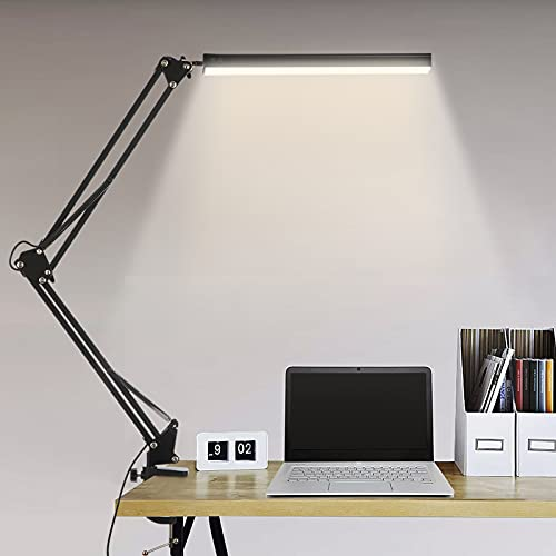 LED Desk Lamp with Clamp, 14W Swing Arm Desk Lamp, Eye-Caring Dimmable Desk Light with 10 Brightness Level, 3 Lighting Modes, Adjustable Table Lamp for Study, Drawing,Office,Architect,Task,Workbench
