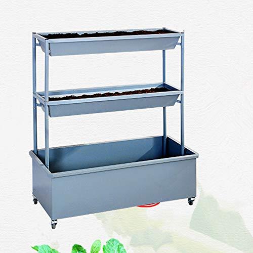 FMXYMC Vertikales Gartenbett mit Rädern, erhöhter Pflanzkasten mit Wasserablauf, freistehende 3-Behälter-Kisten, für den Anbau von Gemüse und Blumen, Innen-Innen-Terrassenbalkon