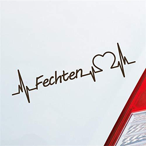 Hellweg Druckerei Auto Aufkleber Fechten Herzschlag Kampfsport Wettkampf Sport Sticker Liebe Braun