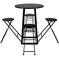 Artesa Collapsible Table with 4 Chairs (Black)