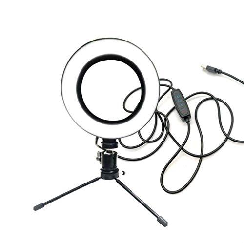 Anillo de luz LED de 6.3 pulgadas con soporte y soporte para teléfono, kit de iluminación de video para fotografía de cámara, anillo de maquillaje para escritorio, luz regulable para teléfono, Selfie