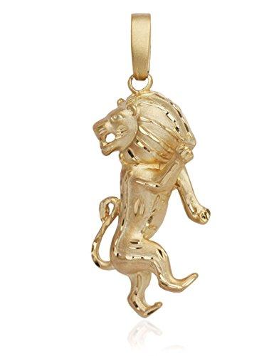 MyGold Löwe Anhänger (Ohne Kette) Gelbgold 585 Gold (14 Karat) Massiv Gegossen 55mm x 22mm Herrenanhänger Sternzeichen Goldanhänger Octandre V0009252