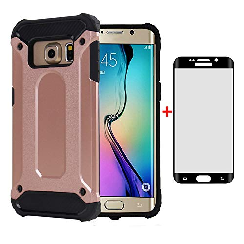 Phone Case for Samsung Galaxy S6 Edge Plus with Tempered Glass Screen Protector Cover and Cell Accessories Slim Silicone Dual Layer Glaxay S6edge + S 6edge 6s 6 Edge+ Hybrid Women Men Cases Rosegold