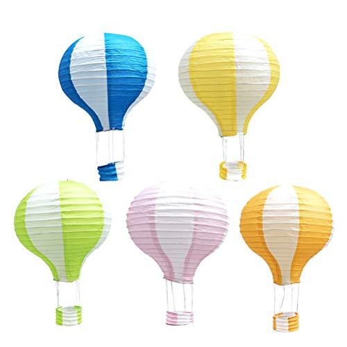 YeahiBaby Hängende Heißluftballon Falten Papierlaterne Deko Papier Lampions Hochzeit Dekorationen 5 STÜCKE 30 cm (Streifen)