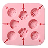 Aeyistry Creative Animals,lollipop and Cat's Paw Shaped Fondant Mold,Chocolate Candy Silicone Cake Mould,Fondant Cake Decorating Tools(Pink)