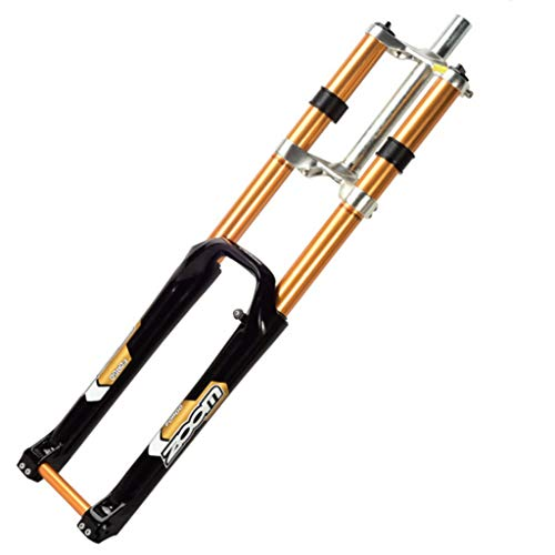 WHQ 26 Inch MTB Bike Suspension Front 27.5 Fork Double Shoulder Control DH Downhill AM Hydraulic Straight Tube Bicycle Shock Absorber Forks (Color : Black, Size : 29 inch)