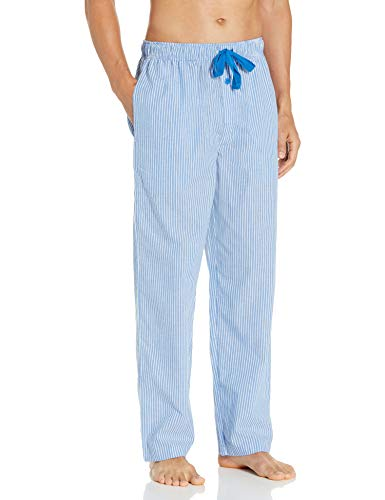 Fruit of the Loom Men's Woven Sleep Pajama Pant, Blue Stripe, Large