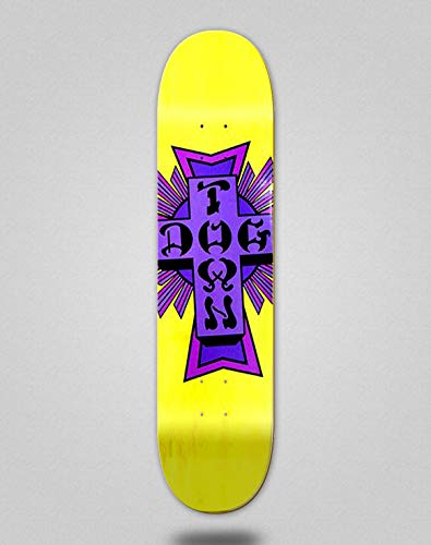 lordofbrands Skate Skateboard Dogtown Street Cross Logo Deck 8.25x32.075 Yellow Purple