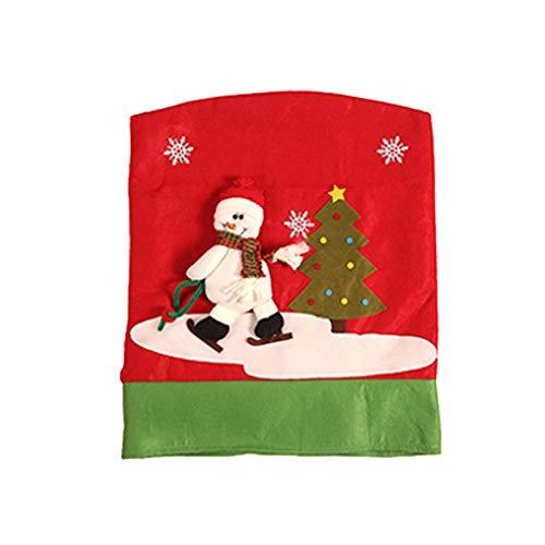 Basage Funda de Silla de Navidad de 1 Pieza, Contraportada de Sillas de Navidad para DecoracióN Navide?A Mesa de Cena Fiesta DecoracióN del Hogar (Monigote de Nieve)