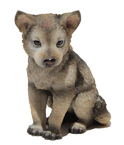 US 4.5 Inch Wolf Cub Sitting Decorative Statue Figurine, Gray and Cream