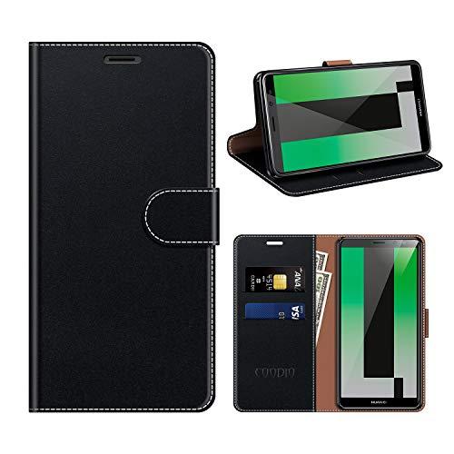 COODIO Huawei Mate 10 Lite Hülle Leder, Mate 10 Lite Kapphülle Tasche Leder Flip Cover Schutzhülle Rugged für Huawei Mate 10 Lite Handyhülle, Schwarz