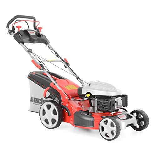 HECHT Benzin Rasenmäher 5534 SX Benzin-Mäher (4,4 kW (6,0 PS), Schnittbreite 51 cm, 60 Liter Fangkorbvolumen, 7-fache Schnitthöhenverstellung 25-75 mm, Radantrieb)