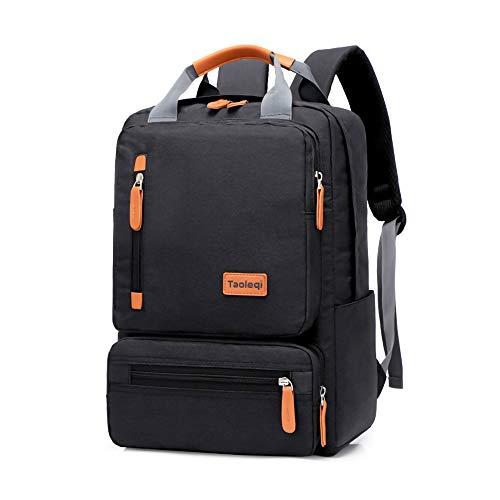 Welltop, zaino per computer portatile, impermeabile da 15,6', grande borsa per la scuola, per viaggi, affari, università, uomini (nero)