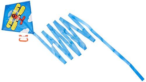 HQ 100016 - Mini Eddy Biplane Kinderdrachen Einleiner, ab 5 Jahren, 30x30cm und 400cm Drachenschwanz, inkl. 8kp Polyesterschnur 20m auf Griff, 3-6 Beaufort