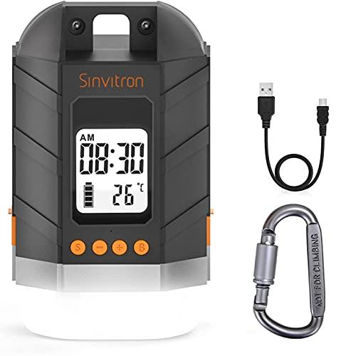 Sinvitron Wiederaufladbare LED Camping Laterne & 15000mAh Power Bank mit LCD Bildschirm, dimmbarem Zeltlicht/Taschenlampe, 4 Lichtmodi, wasserdichtes Campinglicht für Stromausfälle beim Wandern