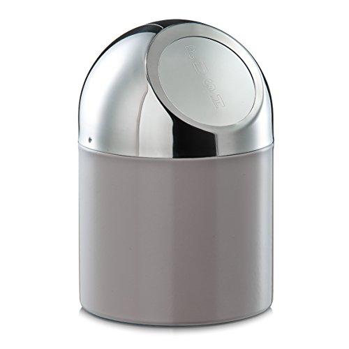 Zeller 27202 - Pattumiera da tavolo in acciaio INOX e metallo cromato, colore: tortora