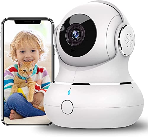Überwachungskamera Innen,[2021 Neu] Little elf 360 Grad Hunde Kamera, WLAN Kamera mit 2-Wege-Audio, Nachtsicht, Tracking-Erkennung für Haustier/Baby, Hundekamera mit App Arbeitet mit Alexa (White)