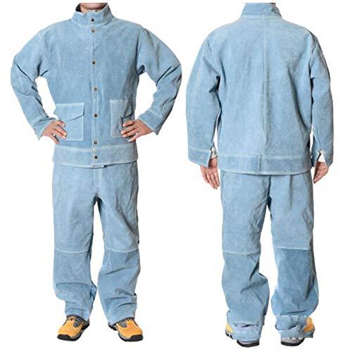 Chaqueta Cuero Soldar, Ropa Soldar Pantalones Trabajo Chaqueta Seguridad Trabajo Piel Vacuno Dividida Resistente Calor Resistente Llamas,Azul,L