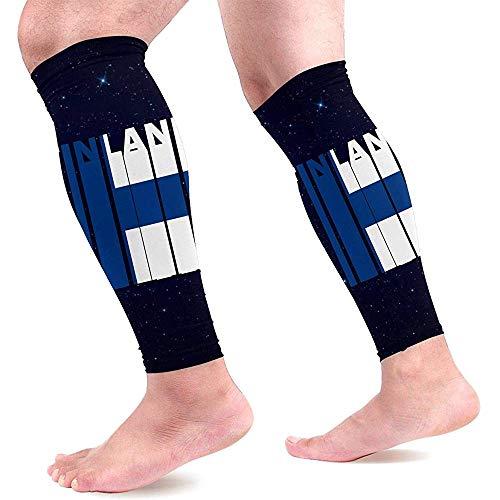 Finland vlag woord kalf compressie mouwen voor mannen en vrouwen been compressie sokken voor hardlopen verpleegkundige 1 paar