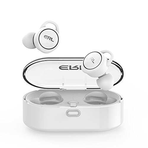 ERL2.0 TWS Bluetooth 5.0 Waterproof Stereo Earbuds with mic Total Wireless Sport Earphones with Magnetic Charging Case(iOS&Android) White