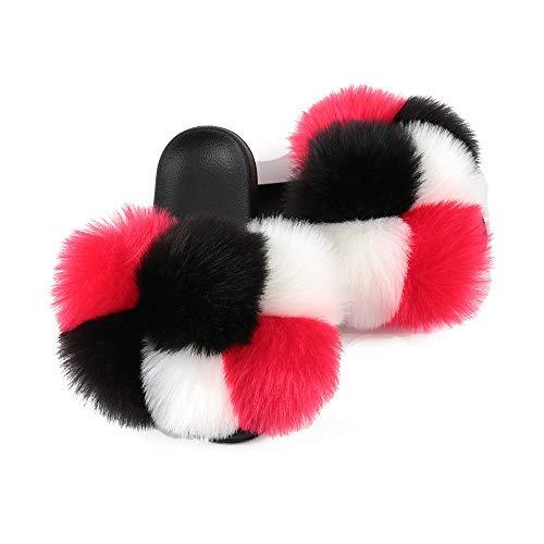 Hiser Zapatillas para Mujer, Arcoiris Color Puntera Abierta Peludas Pantuflas, Piel Sintética Zapatillas de Mujer, Antideslizante Zapato -Interiores y Exteriores (Rojo Negro Blanco,EU42-43/280)