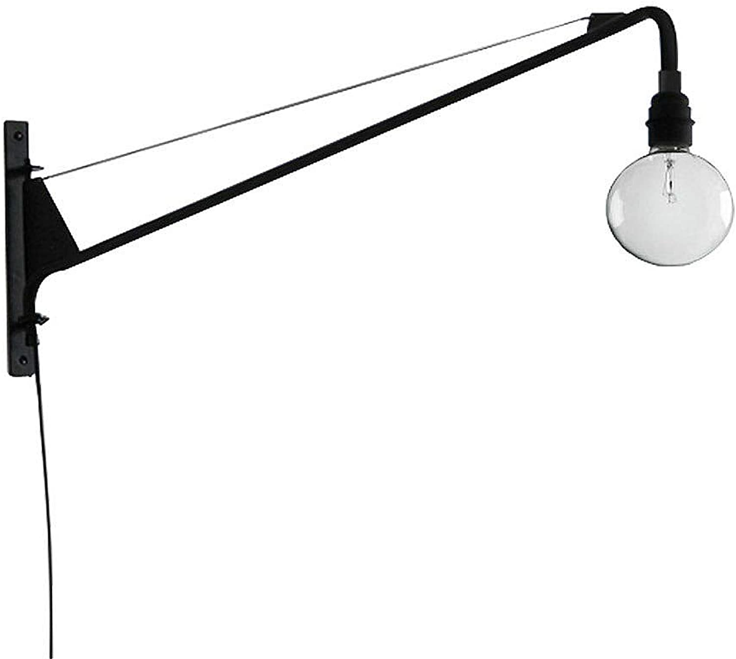SUSUO Lighting Open Bulb Style Swing Wall Lamp with 24  inches Black Swing Arm,Unique Plug-in Sconces Wall Lighting