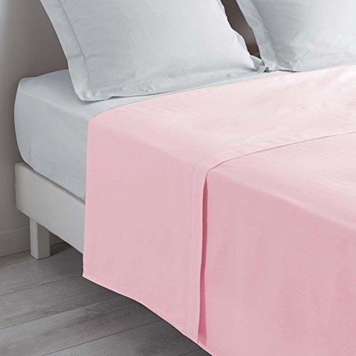 douceur d'intérieur drap plat 2 personnes 240x300 cm lina rose clair