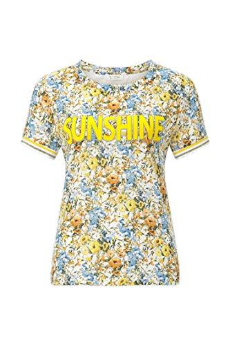 rich&royal Damen with Flower Print at Back T-Shirt, Weiß (White 100), Large (Herstellergröße: L)