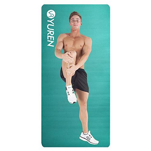YUREN Yogamatte Extra Breit Eisblau Gymnastikmatte Fest für Männer 185x90x1cm XL Gym Yoga Pilate Cardio Crossfit öko NBR Komfort Fitnessmatte mit Tasche&Tragegurt