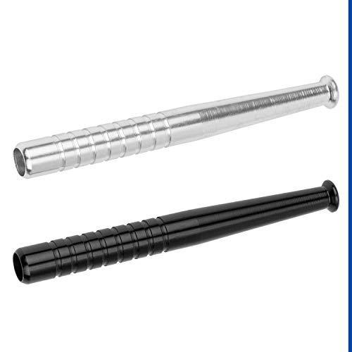 Nasen Zieh Röhrchen, aus Aluminium, 2er Set silber + schwarz, für u.a. Schnupftabak, optimierte Länge und Innendurchmesser für maximale Saugleistung, Schnupf Röhrchen, für Nasen Knallsport, hygienisch