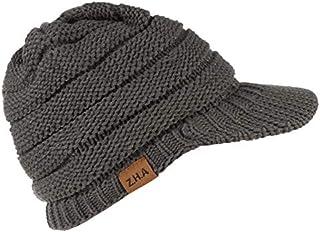 BETOY - Gorro de punto de lana, gorro de invierno con visera para hombre, de punto