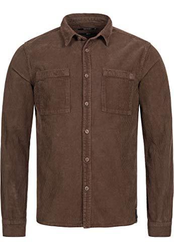 Indicode Herren Fulham Cordhemd mit 2 Brust-Taschen aus 100% Baumwolle - Cord | Regular Fit Langarm Hemd Herrenhemd Baumwollhemd Markenhemd langärmlig Freizeithemd für Männer Demitasse Mix S