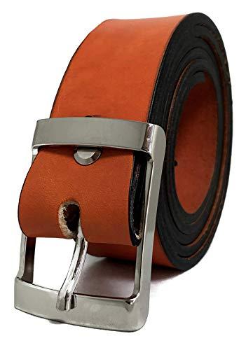 Cinturón de Hombre y Mujer - Piel legítima - 35mm de ancho - Cuero - 3,5cm - Jeans, Trajes, Vestidos, Bermudas, Shorts. (Naranja, 90)