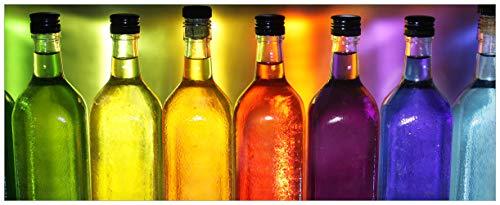 Wallario Acrylglasbild Bunte Flaschen im Regal - 50 x 125 cm in Premium-Qualität: Brillante Farben, freischwebende Optik
