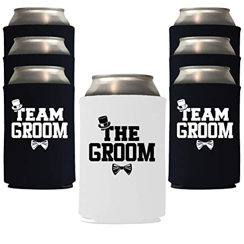 Veracco The Groom and Team Groom Can Coolie Holder Bachelor Party Wedding Favors Gift For Groom Groomsmans Proposal (White Groom, Black TG, 6)