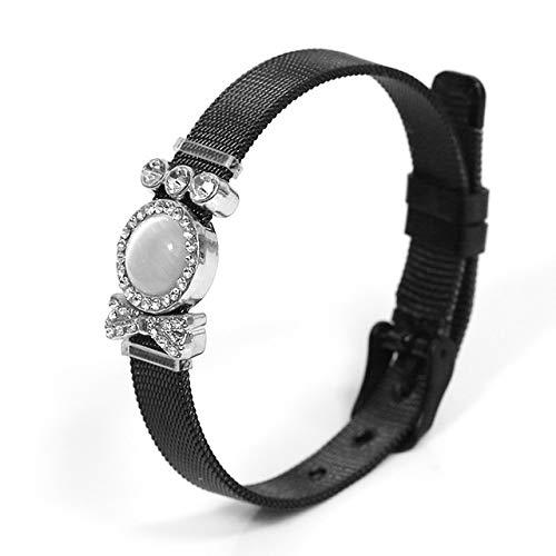 NA HJPAM Pulseras de Correa de Reloj de Malla de Acero Inoxidable Negro para Hombres y Mujeres Pulsera de Cadena de Reloj con Lazo de Oro Rosa Original