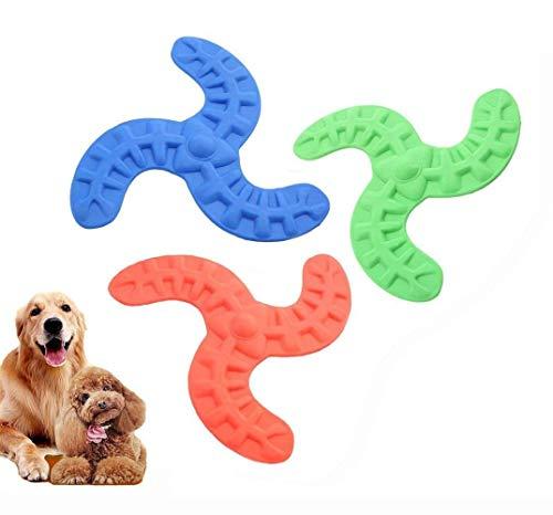 GOUSHENG Frisbees Hunde Spielzeug Hund Frisbee Spielzeug, 3 Stücke Pet Bumerang Spielzeug, Weiche Flexible Gummi Hund Fliegende Scheibe Interaktive Pet Training Fliegende Untertasse Kauen Spielzeug