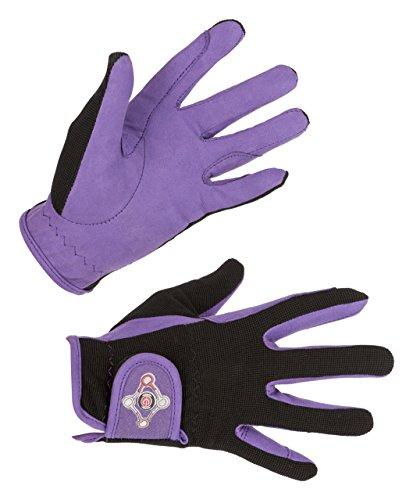 Covalliero Bambini erreit Guanto Lilli Taglia S Guanti da Equitazione, Black/Purple, s