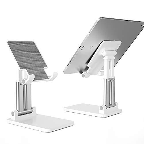 Dual Pole Foldable Tablet Stand, Adjustable Height iPad Stand: Extendable Solid Desktop Stand Holder Dock Compatible with Tablet Such as iPad Pro, Nintendo Switch, iPhone, Nexus, EReader (13''Max)