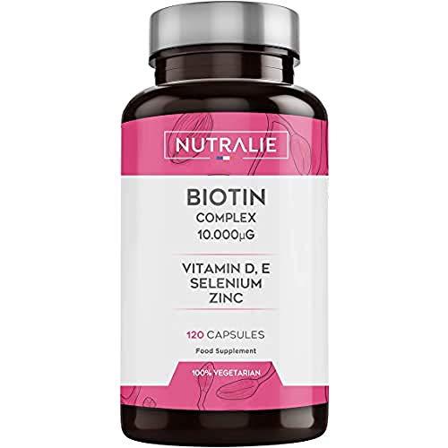 Biotina 10.000 mcg | Contribuye al Crecimiento del Cabello y Mantenimiento de Piel y Uñas | Vitaminas D y E, Zinc, Selenio | 120 Cápsulas | Nutralie